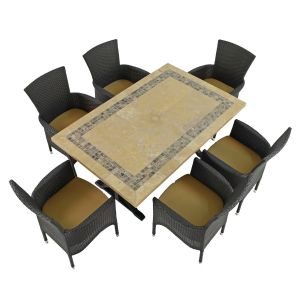 Charleston Dining Table with 6 Black Stockholm Chairs