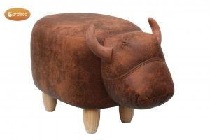 Gardeco Cocoa The Brown Cow Leatherette Footstool
