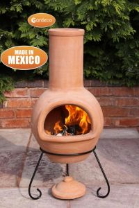 Gardeco Colima Large Mexican Clay Chiminea Natural Terracotta