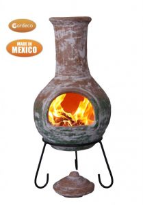 Gardeco Colima Extra Large Mexican Clay Chiminea Natural and Green
