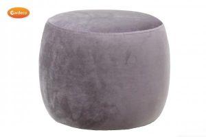 Gardeco Grey Velvet Round Footstool