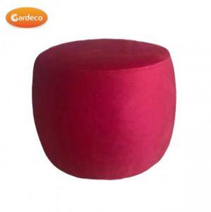 Gardeco Red Velvet Round Footstool