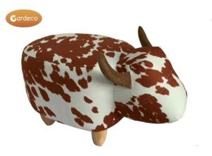 Gardeco Lilian The Brown and White Spotted Cow Velvet Footstool