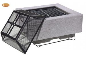 Gardeco Cubo Square Garden Fire Pit with Grill Dark Grey