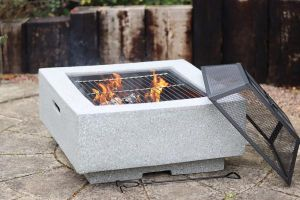 Gardeco Cubo Square Garden Fire Pit with Grill Light Grey