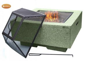 Gardeco Cubo Square Garden Fire Pit with Grill Light Green