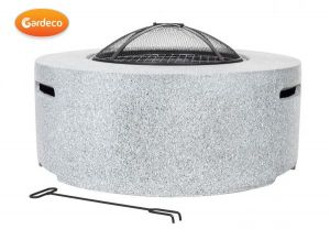 Gardeco Cylinder Garden Fire Pit with Grill Light Grey