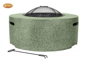 Gardeco Cylinder Garden Fire Pit with Grill Light Green