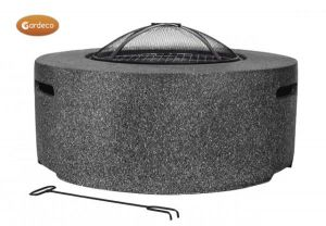 Gardeco Cylinder Garden Fire Pit with Grill Dark Grey