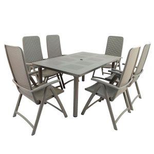 Libeccio Turtle Dove Dining Table with 6 Darsena Chairs