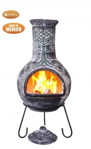 Gardeco Derwyn The Tree Extra Large Mexican Clay Chiminea Celtic
