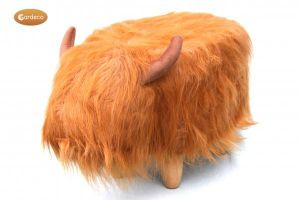 Gardeco Dillis The Brown Highland Cow Synthetic Fur Footstool