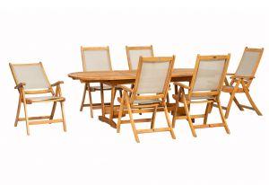 Royalcraft Edinburgh Extension Table & 6 Henley Textilene Recliners