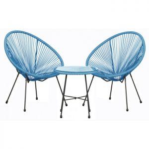 Royalcraft Monaco Blue 3 Piece Egg Chair Setl