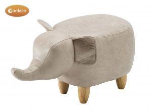 Gardeco Egor the Light Grey Elephant Leatherette Footstool