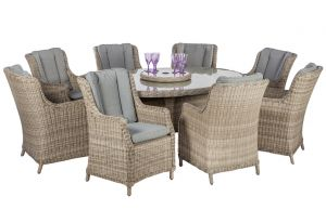 Royalcraft Wentworth Rattan Oval 8 Seater Comfort Dining Set (shown with optional Lazy Susan)