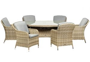 Royalcraft Wentworth Rattan Ellipse 6 Seater Imperial Dining Set