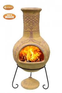 Gardeco Derwyn The Tree Extra Large Mexican Clay Chiminea Celtic Mustard