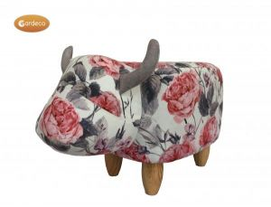 Gardeco Flora The Flower Patterned Cow Fabric Footstool