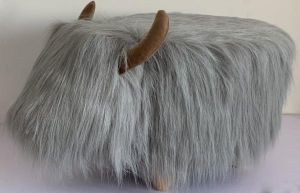 Gardeco Georgette The Grey Highland Cow Synthetic Fur Footstool