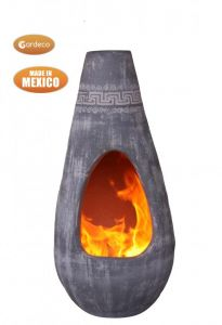 Gardeco Gota Mexican Art Chiminea Large Azteca Grey