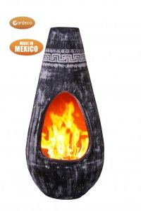 Gardeco Gota Mexican Art Chiminea Large Azteca Charcoal Grey