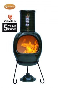 Gardeco Asteria Chimalin AFC Clay Ex-Large Glazed Green Chiminea
