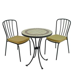 Henley 60cm Bistro Table with 2 Milan Chairs