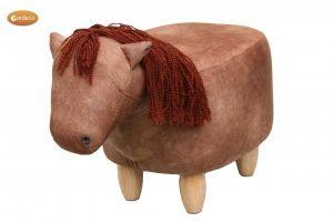 Gardeco Henry The Horse Chestnut Brown Velvet Footstool