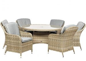 Royalcraft Wentworth Rattan Round 6 Seater Imperial Dining Set
