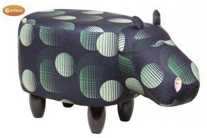 Gardeco Jasper The Black and Green Hippo Velvet Footstool