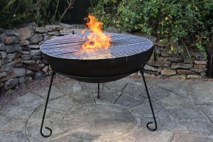Gardeco Kadai Real Steel Fire Pit with BBQ Grill Extra Large 80cm