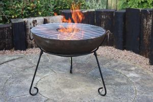 Gardeco Kadai Real Steel Fire Pit with BBQ Grill Medium 60cm