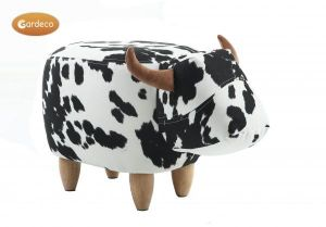 Gardeco Lulu The Black and White Spotted Cow Velvet Footstool