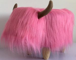 Gardeco Madonna The Pink Highland Cow Synthetic Fur Footstool