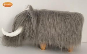 Gardeco Tundra The Grey Woolly Mammoth Synthetic Fur Footstool