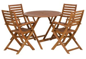 Manhattan Hardwood Round Folding Garden Table and 4 Manhattan Folding Armchairs