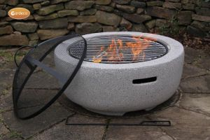 Gardeco Marbella Round Garden Fire Pit with Grill Light Grey
