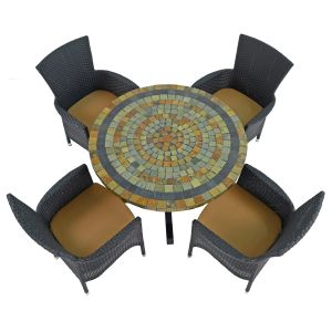Monterey Dining Table with 4 Black Stockholm Chairs