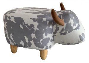 Gardeco Moonlight The Dappled Grey and White Cow Velvet Footstool