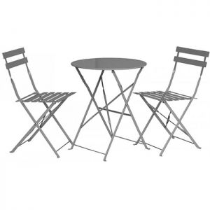 Royalcraft Padstow Grey Taupe Folding Steel Bistro Set