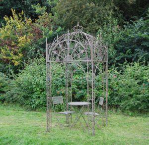 Square Metal Garden Pavillion Antique Blue Rust