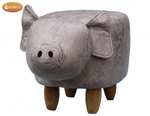 Gardeco Plato the Grey Pig Leatherette Footstool