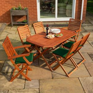 Rowlinson Plumley 6-Seater Hardwood Dining Set Green Cushions and Green Parasol with Base