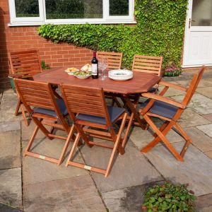 Rowlinson Plumley 6-Seater Hardwood Dining Set Grey Cushions and Grey Parasol