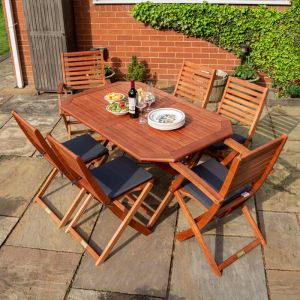 Rowlinson Plumley 6-Seater Hardwood Dining Set Grey Cushions and Grey Parasol with Base