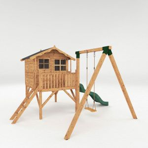 Mercia Poppy Tower Wooden Playhouse with Activity Centre