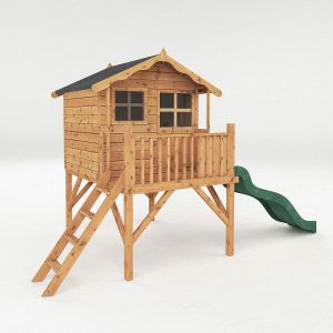 Mercia Poppy Tower Wooden Playhouse and Slide