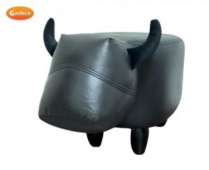 Gardeco Prince The Black Bull Leatherette Footstool