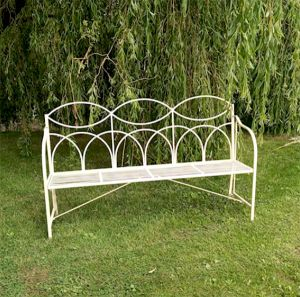 Reeded 3-Seater Metal Bench Cream